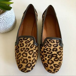 Banana Republic Calf Hair Leopard Print Loafers